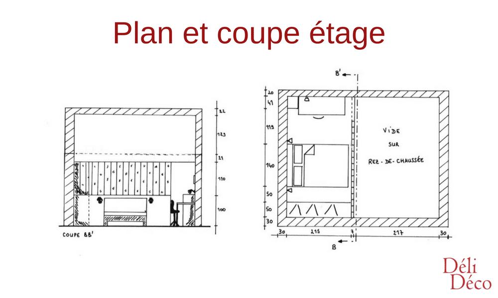 plan et coupe étage studio étudiant