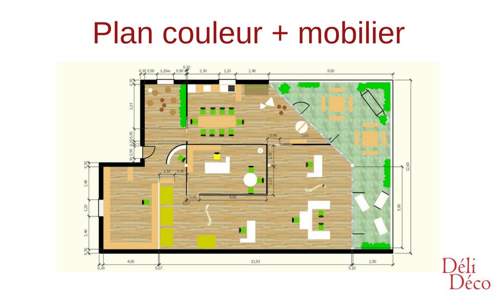 Bureau entreprise plan couleur + mobilier