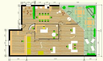 plan technique couleurs + mobiliers