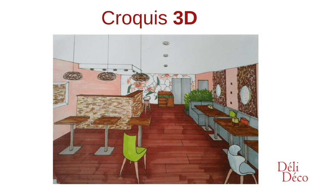 croquis 3d restaurant
