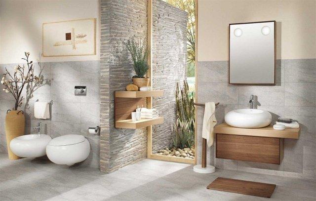 salle de bain zen pierre et bois