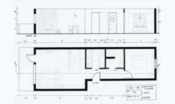 plan et coupe appartement montagne aménagé