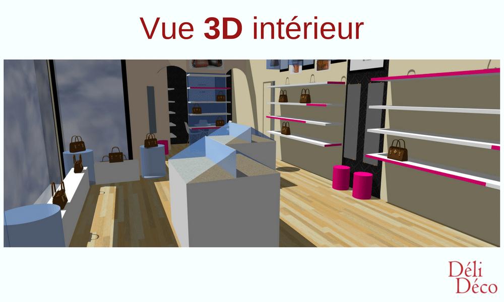 vue 3d intérieur boutique maroquinerie