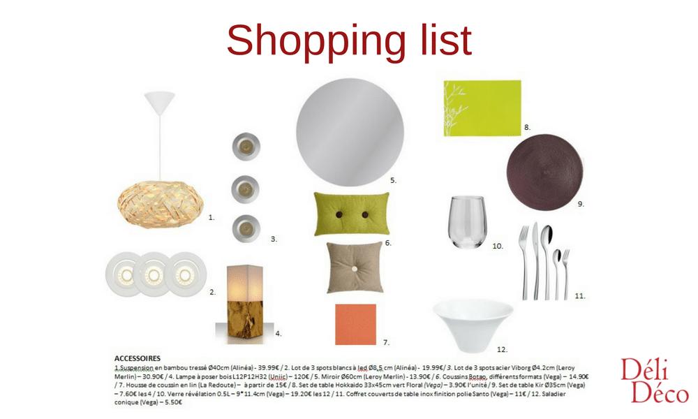 planche shopping list accessoires restaurant