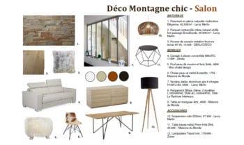 planche shopping list matériaux et accessoires appartement montagne