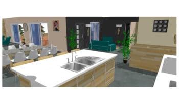 vue 3d petit salon cuisine maison de campagne