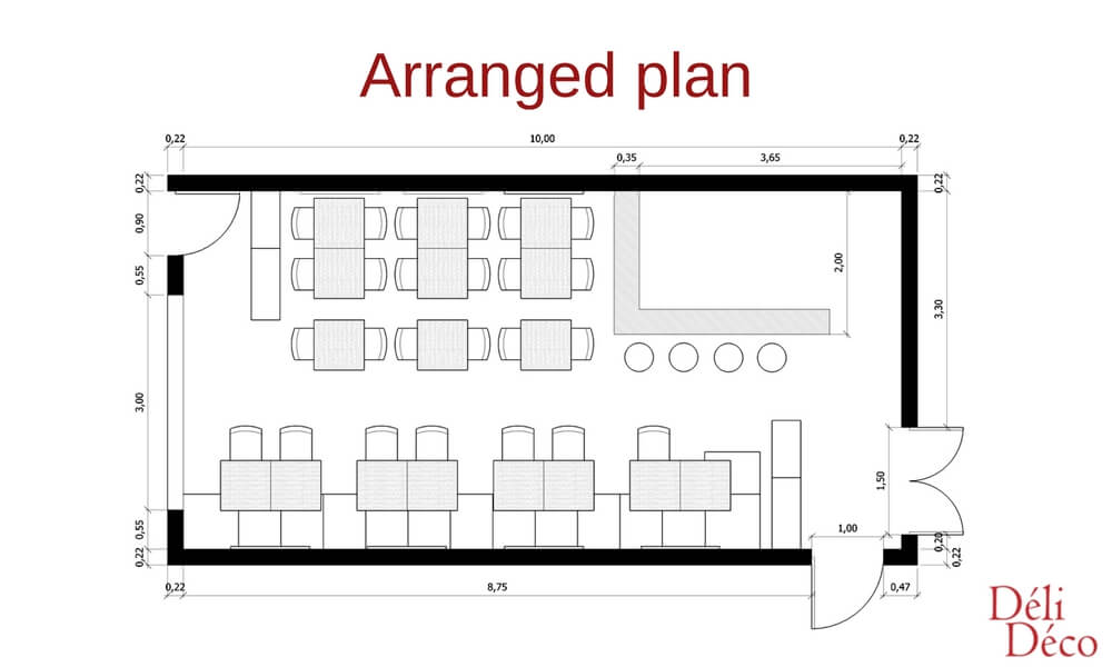 restaurant's arranged plan