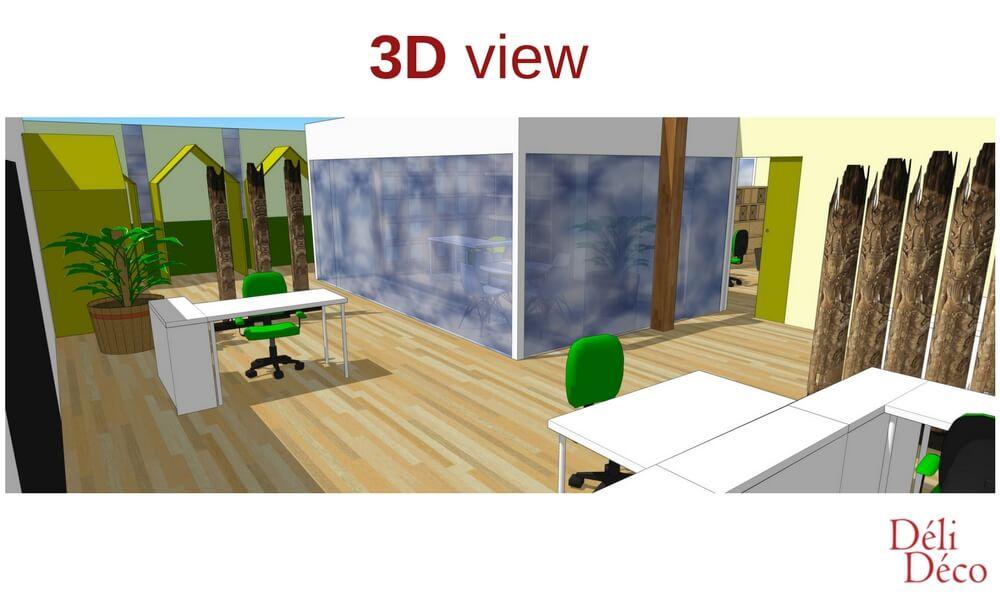 vue 3D bureau de startup