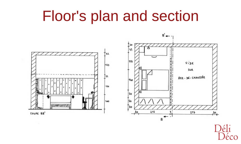 floor's plan and section of a loft