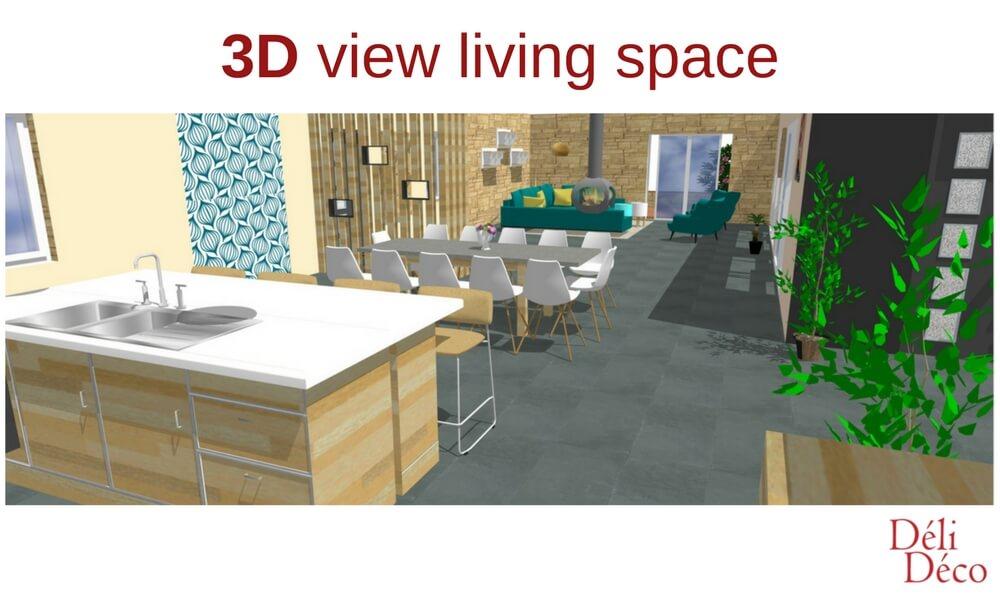 vue 3D maison de campagne séjour