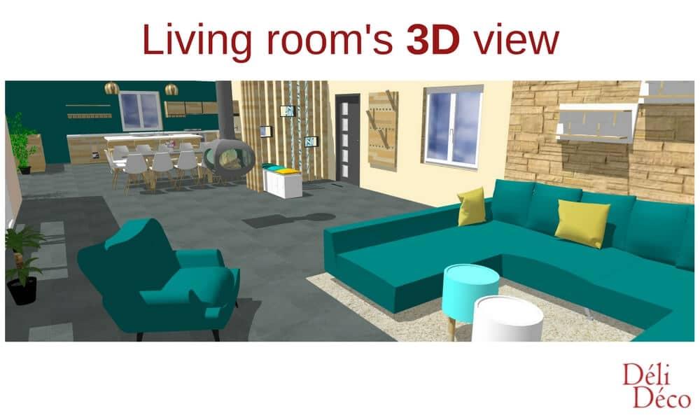 vue 3D maison de campagne