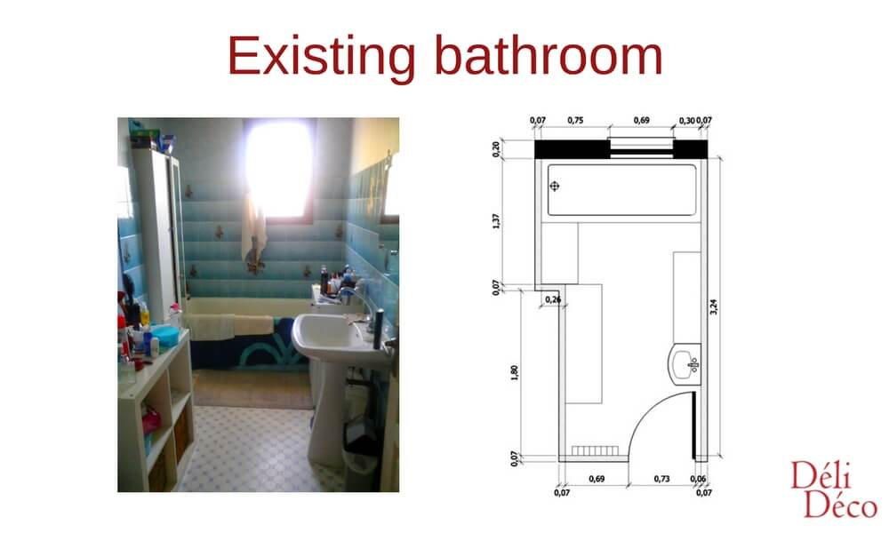 existing bathroom 2D plan