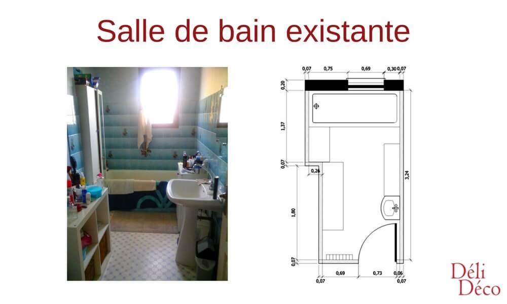 plan et photo salle de bain existante