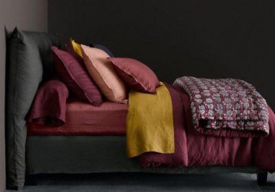 linge de lit curry et prune