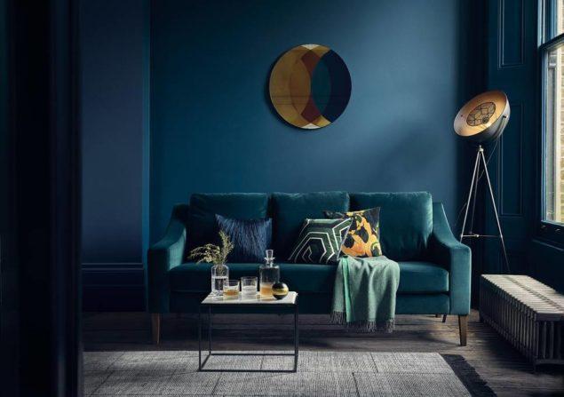 salon bleu profond