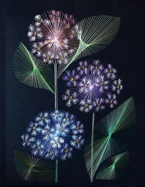 fleurs en string art