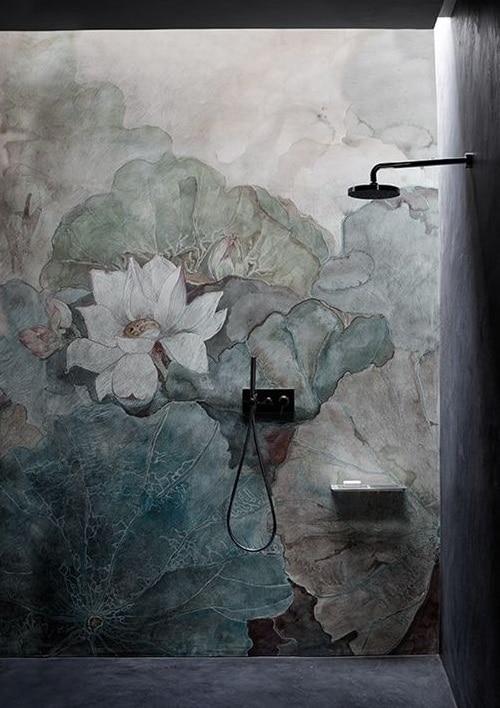 peinture murale esprit japandi