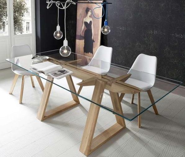 table en verre trempé et chêne massif