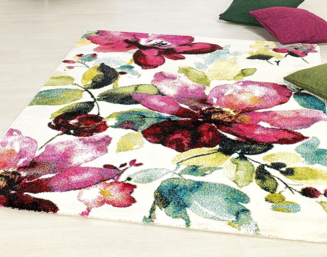 tapis imprimé fleurs