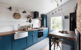 cuisine scandinave bleu pétrole