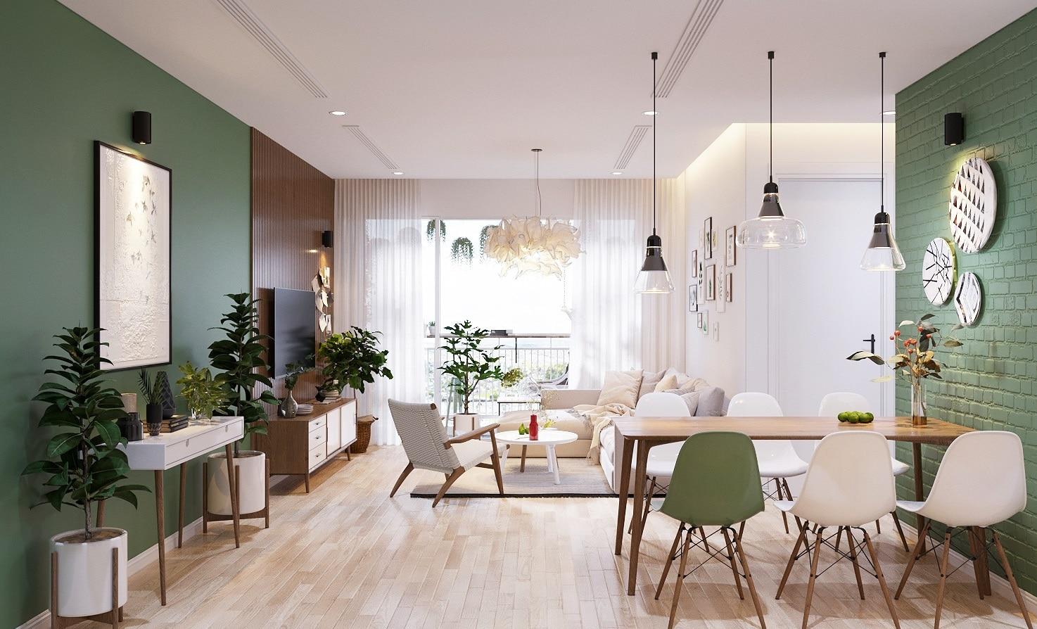 salon scandinave vert grisé et bois blond