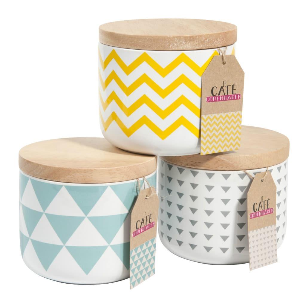 Pots à couvercle motifs géométriques