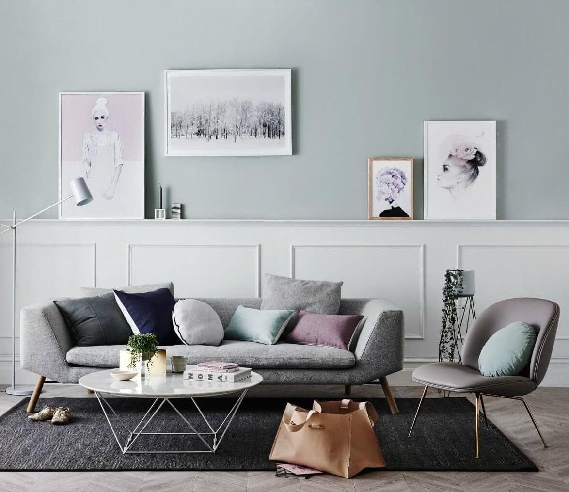 salon scandinave aux formes minimalistes