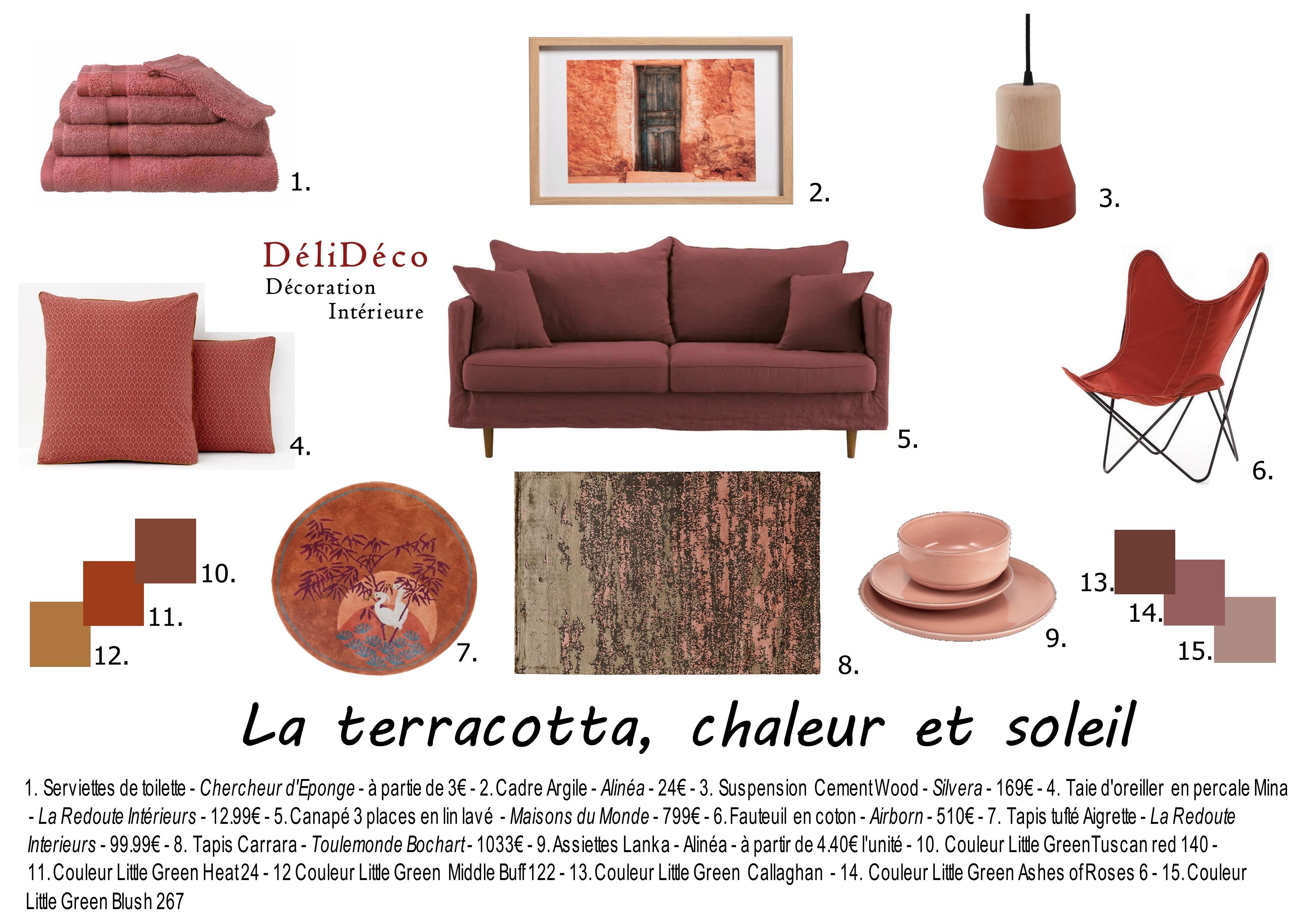couleur terracotta mobilier accessoires déco