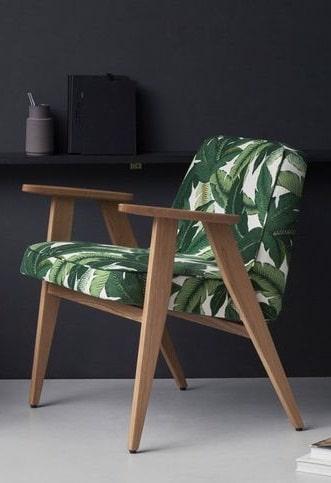fauteuil imprimé feuillage