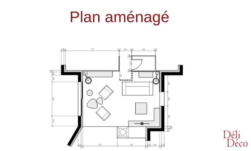Plan salon aménagé 2D