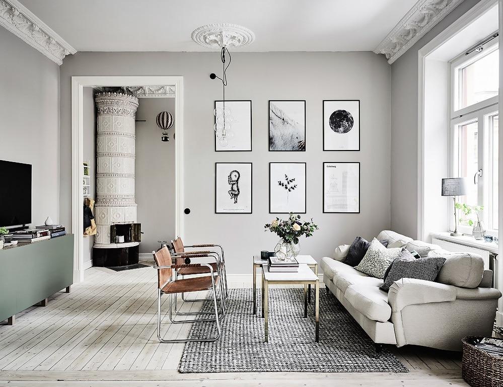 murs blanc grisé et accessoires en dégradé de gris