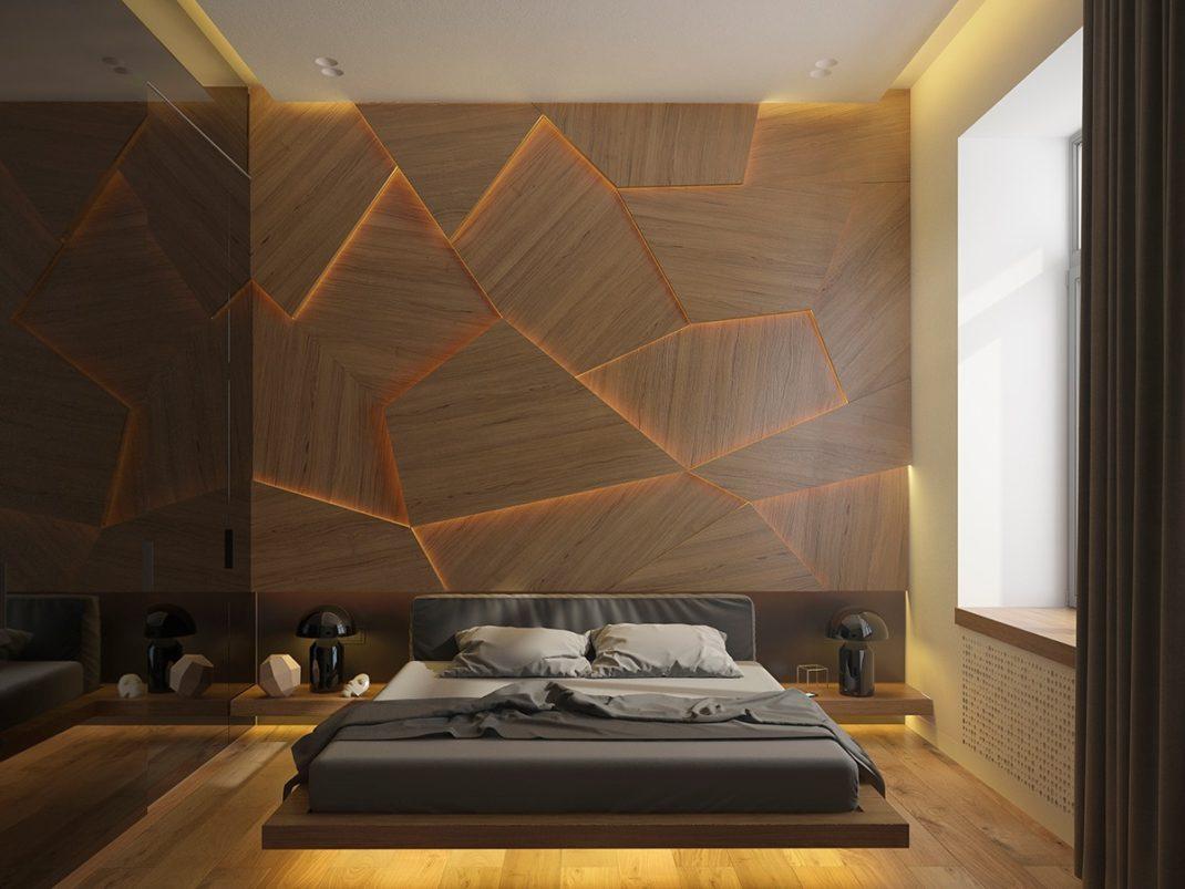 mur en plaques de bois et led
