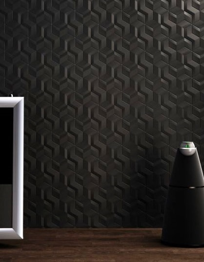 Carrelage 3D noir motifs géométriques