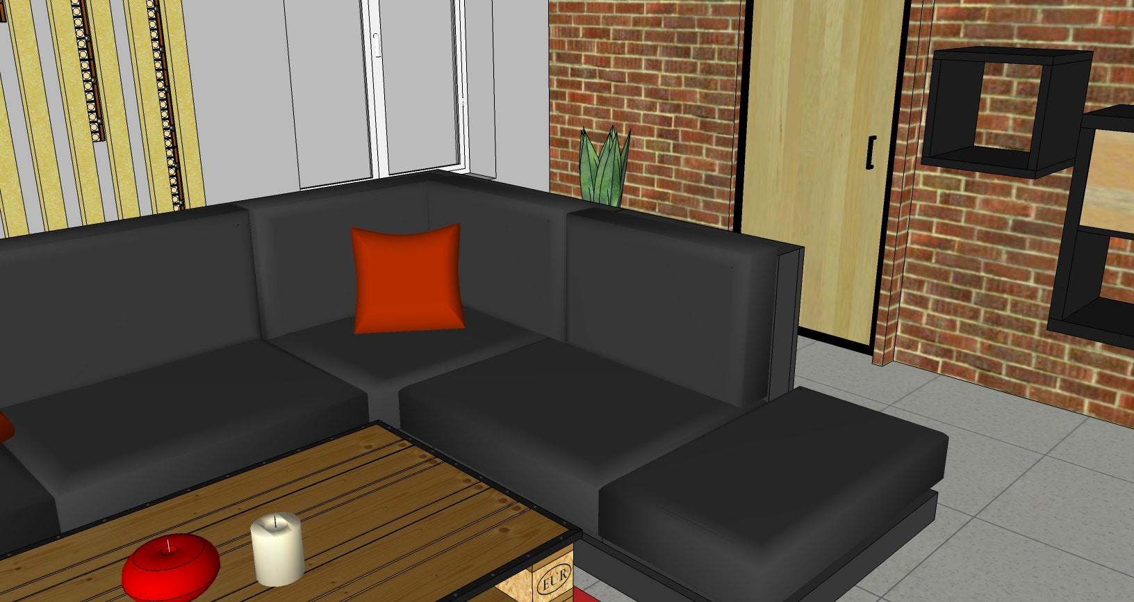 Vue 3D salon style industriel