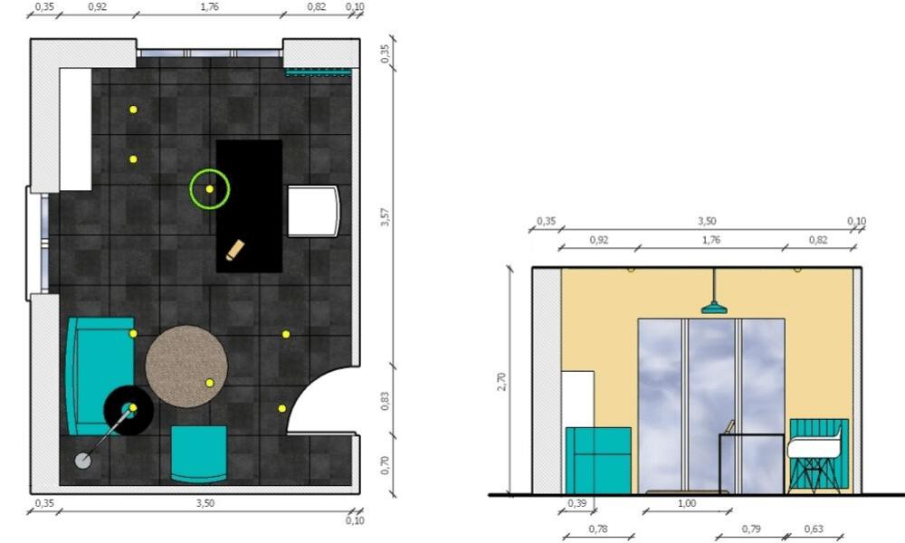 Plan et coupe 2D bureau