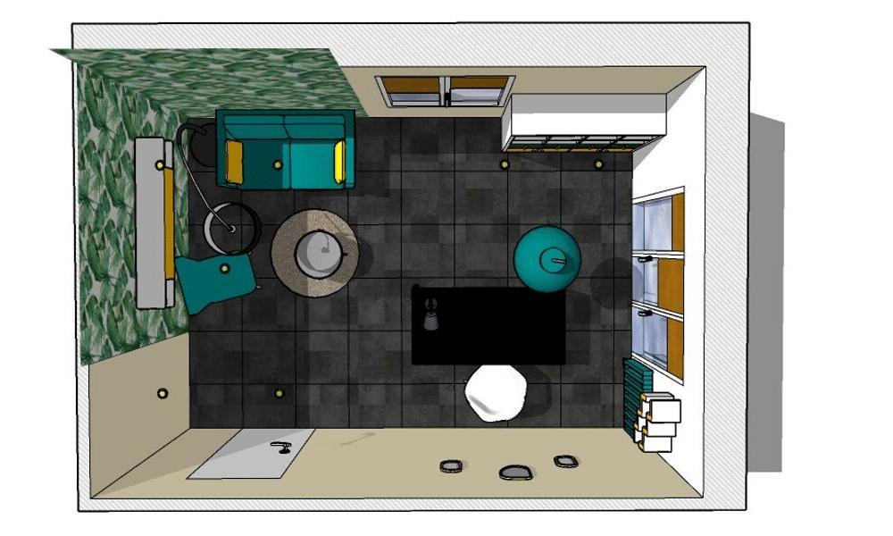 Vue 3D bureau proposition décorative