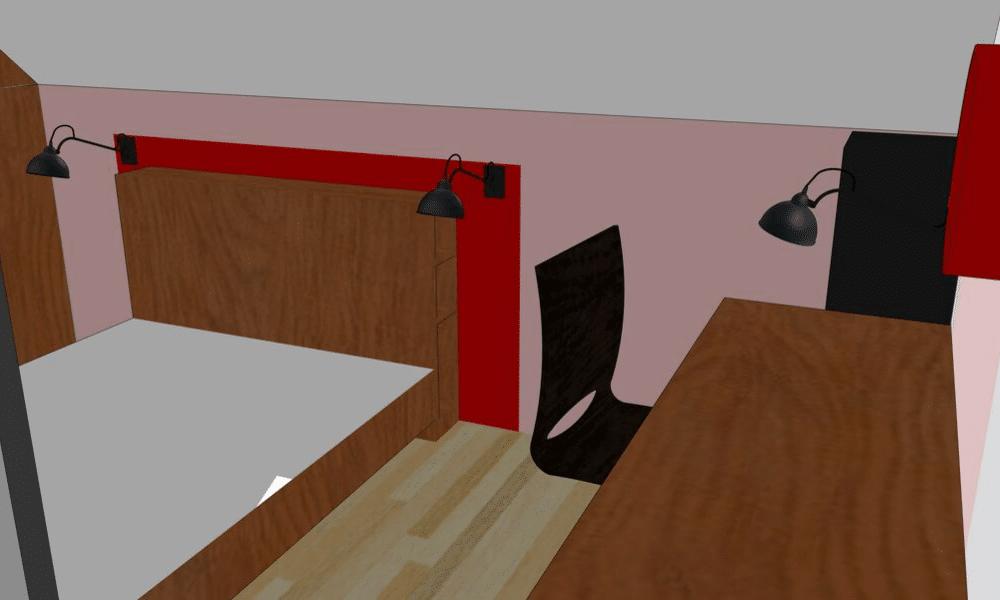 Vue 3D chambre et bureau loft