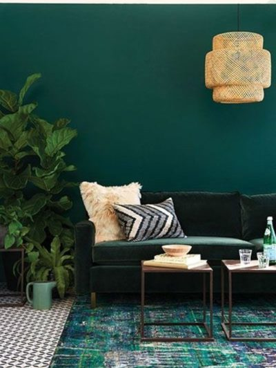 Mur vert émeraude dans le salon