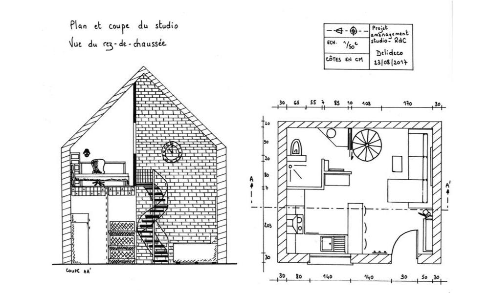 Plan et coupe 2D loft