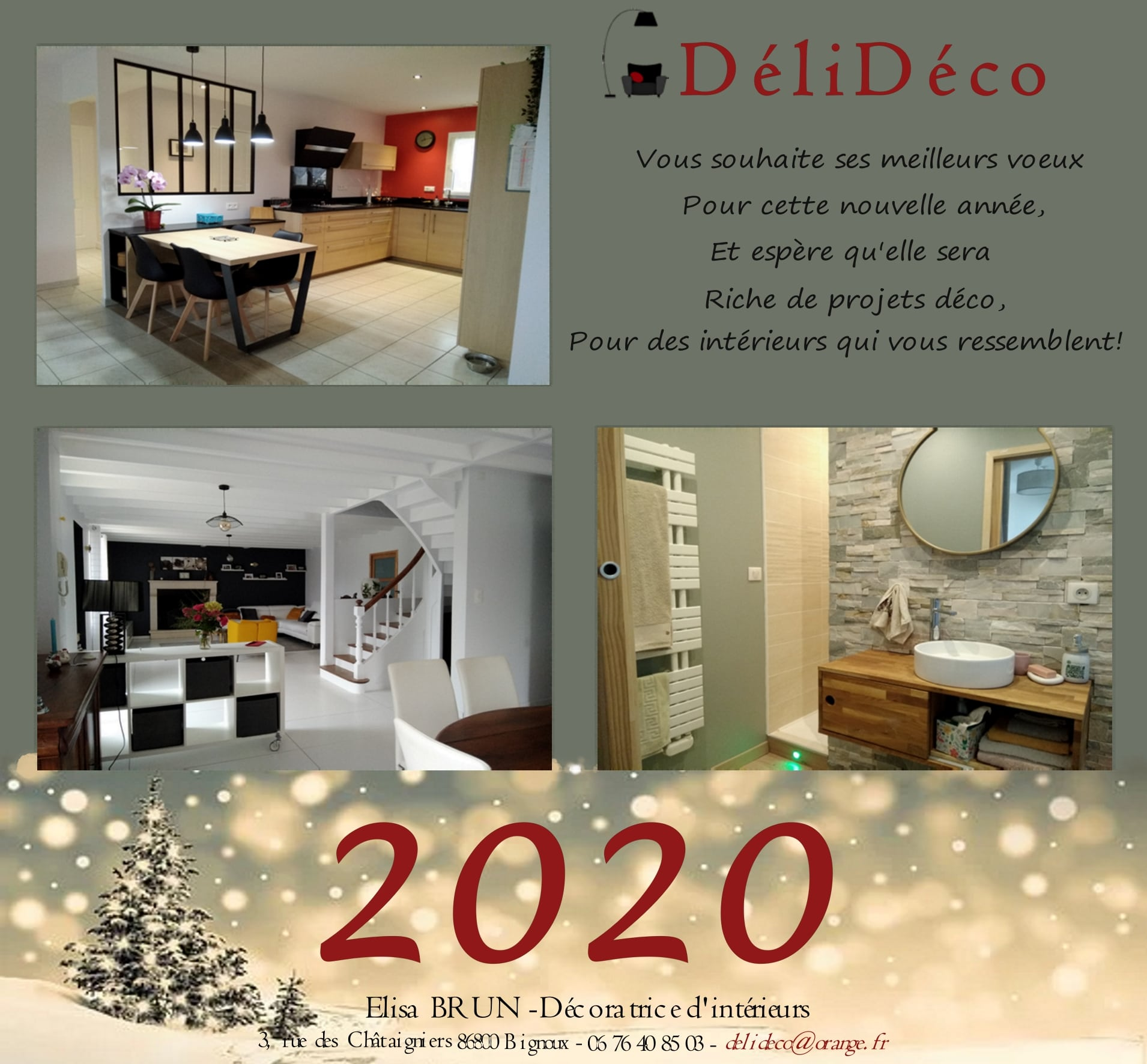 Carte de vœux 2020 décoration intérieure