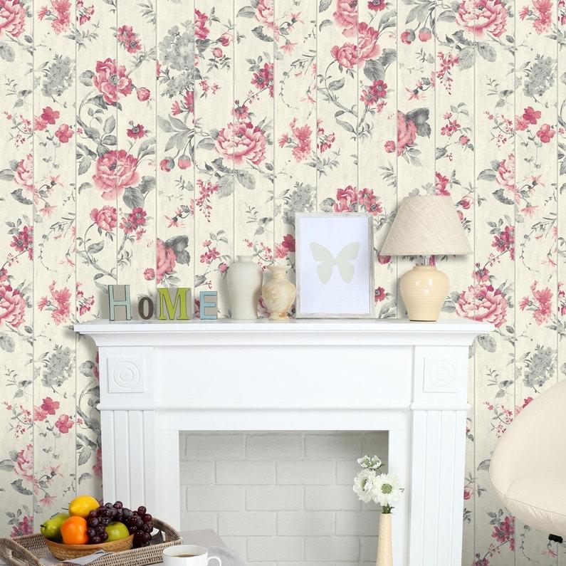 Papier peint fleuri style classique