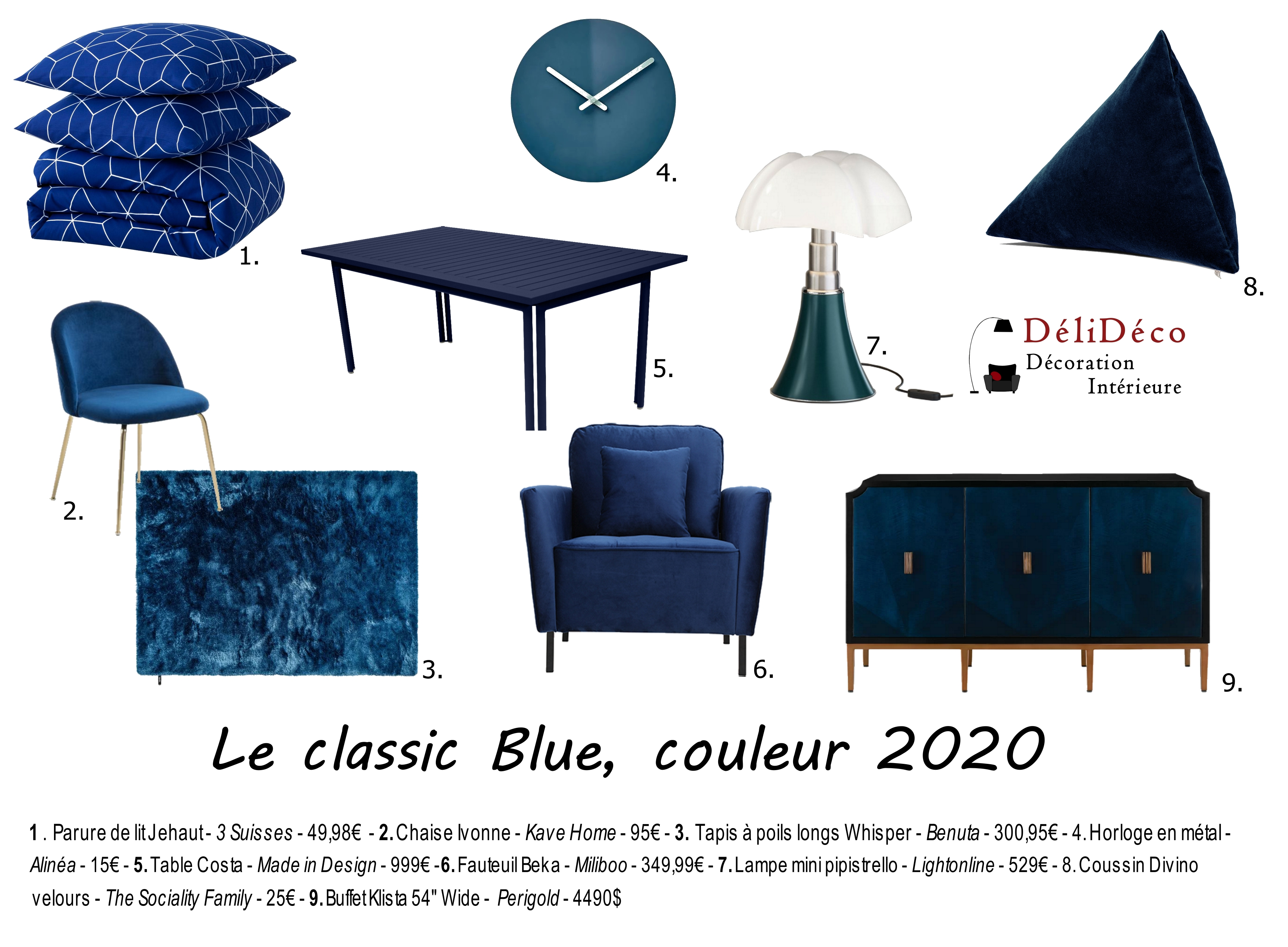 Shopping list mobilier accessoires classic blue