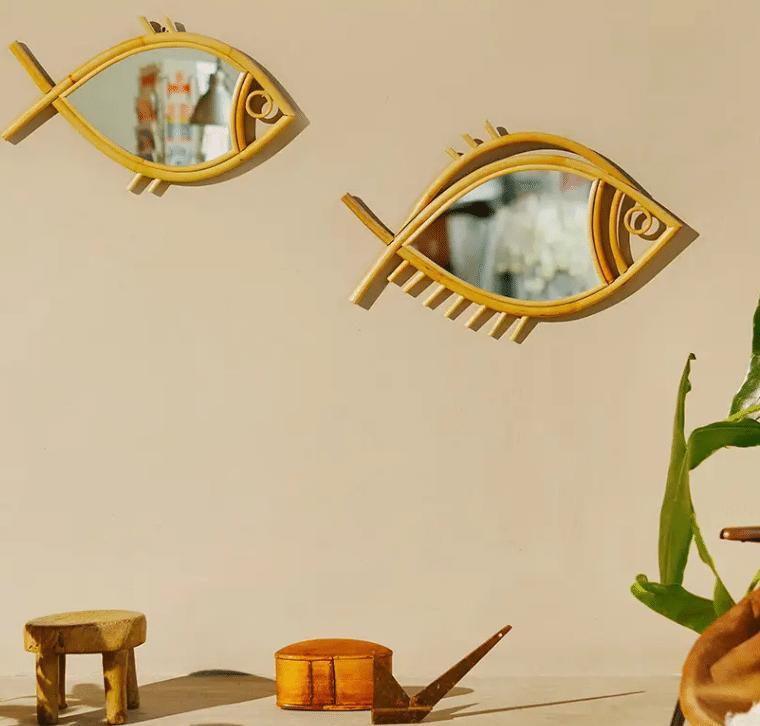 Déco murale poissons en osier