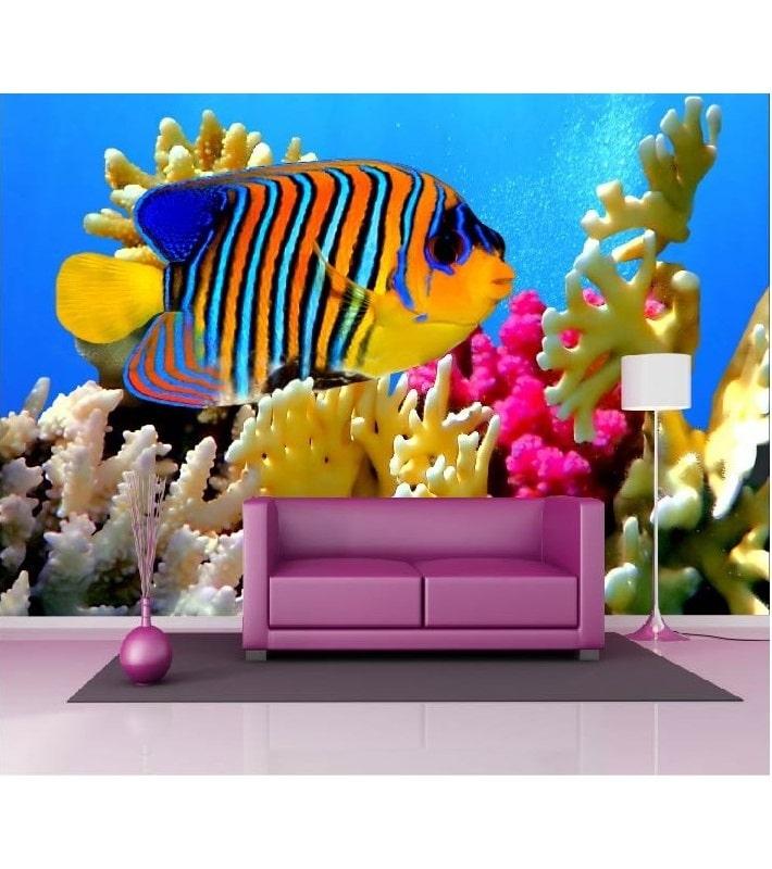 Papier peint poisson coloré