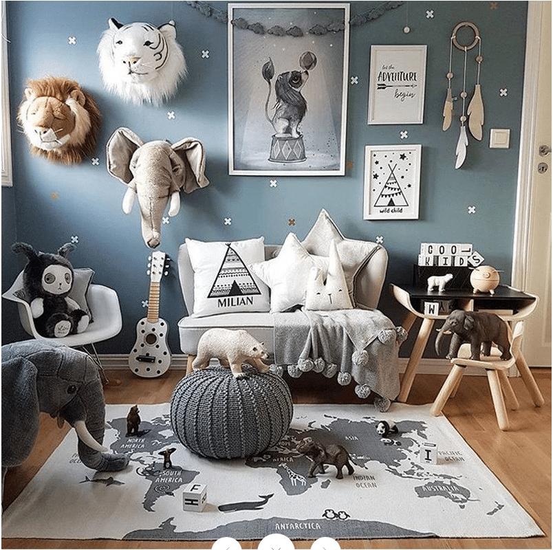 Tapis chambre d'enfant carte du monde
