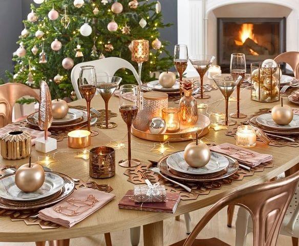 déco de table rose et doré