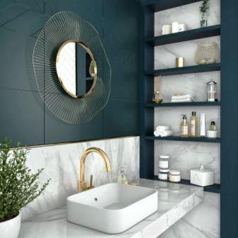Faïence salle de bain bleu profond