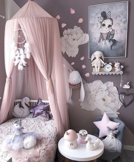 Rose et mauve grisé chambre