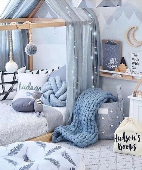 Harmonie de gris et bleus chambre
