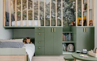 Chambre enfant feuillage vert